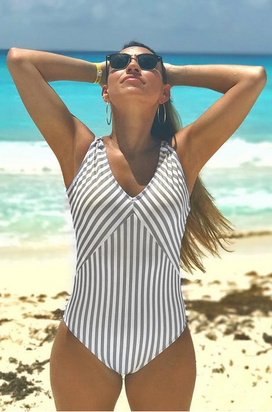 All About Stripe One Piece Swimsuit, beach, summer, love, cacation, stripes