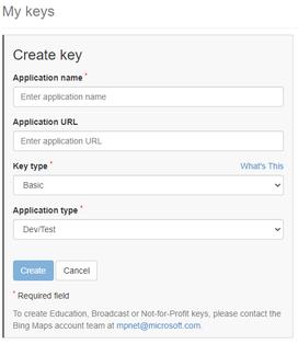 Create Bing Maps Key