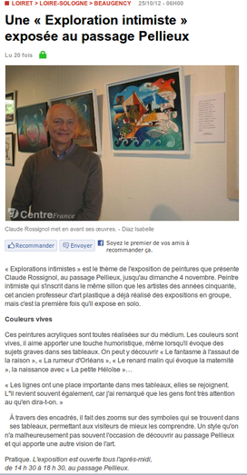 Claude Rossignol - Article Exposition Beaugency Galerie Pellieux 2012