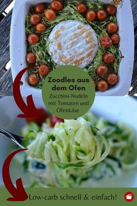 Zoodles mit Ofenkäse aus dem Ofen #feta-pasta #ofenkäse #zoodles #zucchininudeln #lowcarb