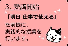 3.サービス開始「明日仕事でつかえる」授業 パソコン教室 サク子