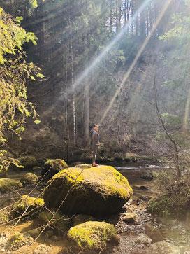 mit Moos eingewachsene Steine bei der Rottach bei Sulzberg