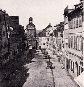 Blick auf das Mühltor durch die Rückertstraße im 19. Jahrhundert