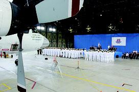 海上自衛隊第5航空群創立45周年の記念式典が開かれた=16日午前、那覇海自基地