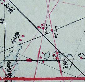 朱印船地図の一例。尖閣諸島は「トリシマ」「レイス」と表記。当時、欧州でも中国でもこの精度の地図は存在しないという(長崎歴史博物館蔵の東洋南洋航海古図、石井望氏提供)