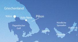 Karte vom Pilion, Tai Chi und Qi Gong Ferienkurse am Meer in Kala Nera, Griechenland mit Karina Berg
