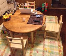 メルクシパイン集成材 子供用椅子 木工キット 完成
