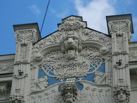 Art Nouveau building by Mikhail Eisenstein in Riga.