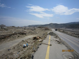 A barren view of Rikuzentakata city. This land was filled with houses before the tsunami.