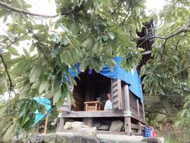 恵良山頂上で風祈祷のため社殿に参篭する井上宮司。猛暑の中、過酷な5日間が始まった。(平成24年8月28日)