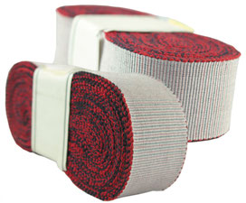 decorative ribbon no. 25, cotton, white-red, width 9. (while stocks last)
