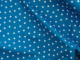 Pünktchenstoff Baumwolle weiss auf blau