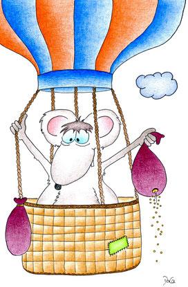 Geburtstagskarte Maus fliegt im Heissluftballon in den Himmel
