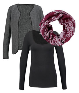 ZALANDO ESSENTIALS Langarmshirt - black, S.OLIVERSchlauchschal - red, ONLY DIAMOND - Strickjacke - dark grey