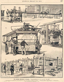 """Ernst Flemming: Städtische Webschule Berlin 1895. Zeichnung von George Lulvès. Aus """"Illustrierte Chronik der Zeit"""" Berlin 1895,  S. 537"""