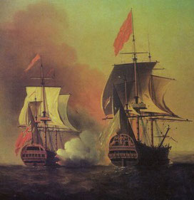 George Anson's capture of the Manila Galleon by Samuel Scott (1772).