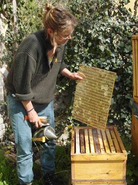 Jana Bundschuh am Bienenvolk