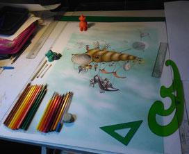 ilustración, tablero de dibujo, lapiz, boligrafo, lapices de color, ilustradores, ilustración