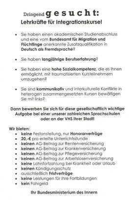 Stellenanzeige als Flugblatt verteilt an 1. Mai-Feiertagen und bei Demonstrationen