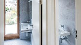 badezimmer oberflächen-beschichtung mit epoxid mikrozement zürich witikon sanierung - fotos von Alexandre Kapellos