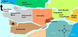 Lower Mainlandの地域   Image: Google