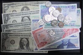 お買取りさせて頂いた硬貨と紙幣