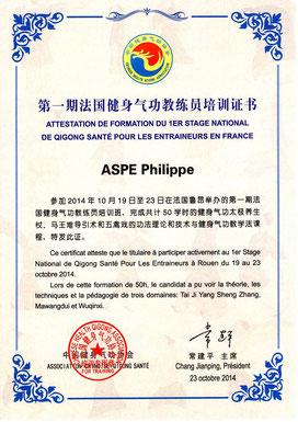 certificat d'entraineur en qigong de santé remis à Philippe Aspe en octobre 2014