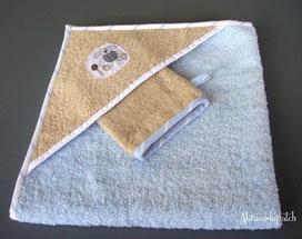 sortie de bain carrée avec gant collection basile abracadapatch