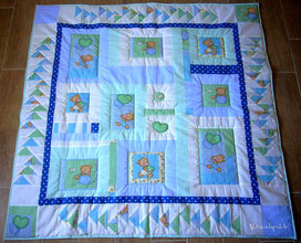 Patchwork créateur bébé bleu vert abracadapatch