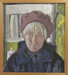 Selbstporträt Ursula Greve, 1997, Plaka auf Pappe