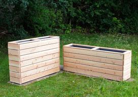 Pflanzkasten / Pflanzkübel / Gemüsebeet aus Holz, Oberfläche: Transparent Geölt Grau