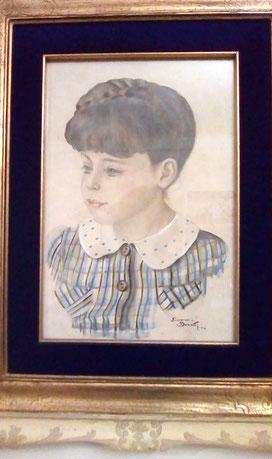 Ritratto di Iolanda Cagnina, Casoli 1940. Acquerello del pittore Hans Brasch (Giovanni) , ebreo tedesco internato nel campo di Casoli.