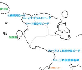 沖縄北部 オススメビーチの地図