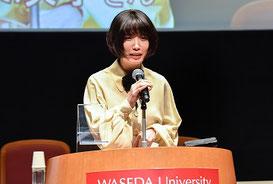 ゲストの芥川賞作家・川上未映子さんが大会を振り返って感想を述べました。