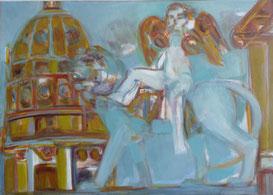 Engel/ Genie auf Löwe 50 x 70 Öl Lw 2009