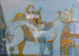 Engel/ Genie auf Panther 50 x 70 Öl Lw 2009