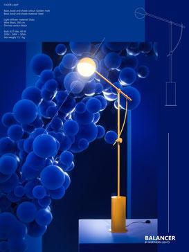 Cartel lámpara render 3D. Luz y color. Azul y foco en amarillo