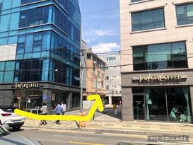 ⑨約50m歩くと、左手にお洒落なカフェ(TALOR COFFEE)が2店舗あり、その間の路地を左折!