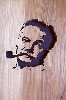 Portrait de Georges Brassens - Atelier Eclats de bois
