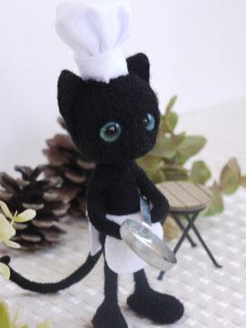 黒猫のシェフ 羊毛フェルト