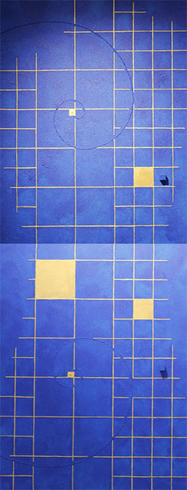 Golden Grid 5 light blue   F6×2   318mm×820mm   Acrylic 2012