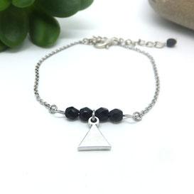 TIANO - Bracelet triangle argent et perles