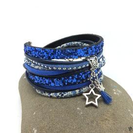 VEGA- Bracelet ETOILE et pompon, bleu, deux tours, manchette