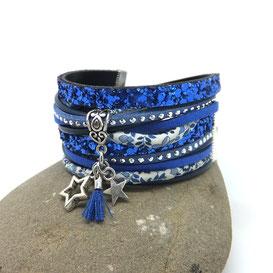 VEGA- Bracelet  deux tours ETOILE et pompon, bleu, manchette