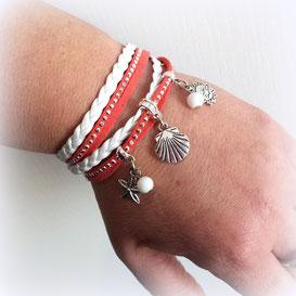 Pyla- bracelet manchette breloques corail et blanc
