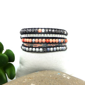 ROMEO Bracelet wrap corail et gris
