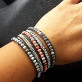 ROMEO  Bracelet cuir et perles corail et gris