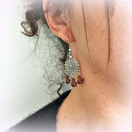 NOURIA -Boucles d'oreilles argent fait main ethnique perles marron