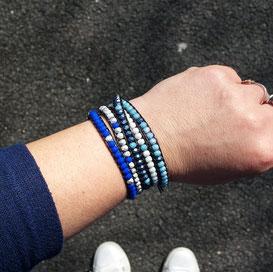 AZUR - Bracelet wrap cuir et perles