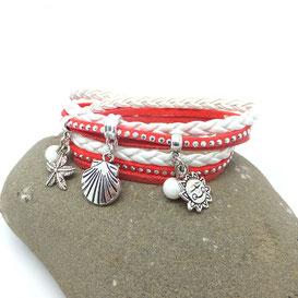 Pyla - Bracelet coquillage fait main corail et blanc